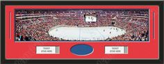 One framed large Washington Capitals stadium panoramic with openings for one or two ticket stubs* and one or two 4 x 6 inch personal photos**, double matted in team colors to 39 x 13.5 in.  The lines show the bottom mat color. $179.99            @ ArtandMore.com