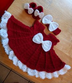 3aa731853 Cherry red crochet baby dress set with headband and booties