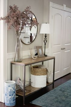 This Home Tour is Giving Us Major Shelfie Goals Entryway Decor Ideas giving Goals Home Major Shelfie Tour Entrance Decor, Entryway Decor, Hallway Table Decor, Entry Foyer, Entry Table Mirror, Front Hall Decor, Small Entrance Halls, Side Table Decor, Entrance Table