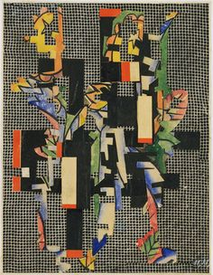 Hannah Höch. Collage II (On Filet Ground). c. 1925. Cut-and-pasted printed and painted paper on printed paper.