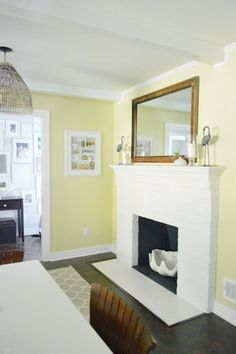 white fireplace - YHL