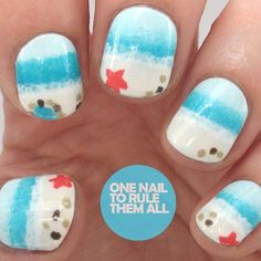 """I redid my beach nails from last year for a tutorial for @divinecarolineteam #nailart"""