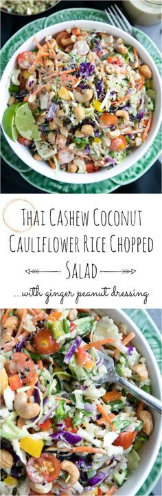 Thai Cashew Coconut Cauliflower Rice Chopped Salad with Ginger Peanut Dressing #salad #healthy #easydinner #cauliflowerrice