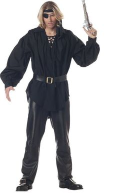 Adult Men s Black Pirate Costume Shirt (Size  Standard If you re looking to  personalize your own pirate style b3cc8c12444e
