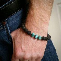 Mens bracelet, turquoise bracelet, black bracelet, beaded bracelet, dude jewelry, mens beaded black bracelet, turquoise, handmade, trending