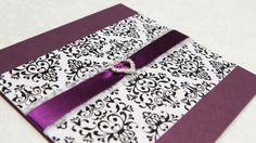 Damask print on purple with heart jewel brooch on purple ribbon