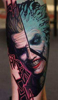 Awesome 3 colors abstract tattoo style of Joker motive done by tattoo artist Dave Paulo Dc Tattoo, Tattoo Skin, Calf Tattoo, Body Art Tattoos, Sleeve Tattoos, Joker Face Tattoo, Batman Tattoo, Joker Tattoos, Superman Tattoos