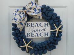 Beach wreath Beach decor Seashore wreath by ChloesCraftCloset
