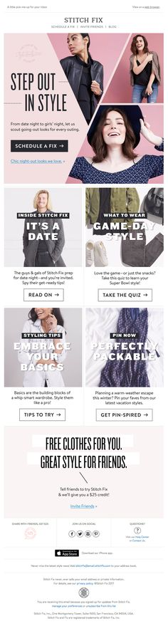 @stitchfix sent this email with the subject line: Your February Updates Are Here! - Read about this email and find more newsletter emails at ReallyGoodEmails.com #fashion #newsletter