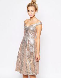 32362fb99e Shop Lashes of London Bardot Full Prom Midi Dress at ASOS.