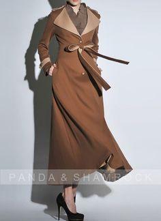 lady in winter/women clothing/long coat/high collar/belt/fit/custom made/wool/autumn/winter. $200.00, via Etsy.