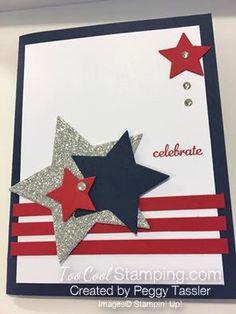 Patriotic Stars Card - Peggy Tassler www. Graduation Cards Handmade, Greeting Cards Handmade, Masculine Birthday Cards, Masculine Cards, Holiday Cards, Christmas Cards, Military Cards, Karten Diy, Star Cards