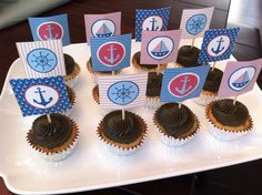 Nautical cupcakes for a boy baby shower