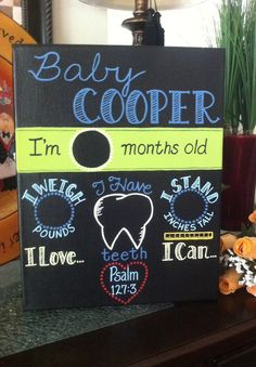 Hand painted Baby's monthly milestone chalkboard by EaselyDesigned, $25.00