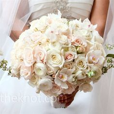 bridal bouquet ~ large with roses, orchids and ranunculus