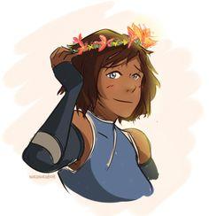 did this quick doodle of flower crown bae Avatar Aang, Avatar The Last Airbender, Avatar World, Korrasami, Legend Of Korra, Flower Crown, Illusions, Bae, Disney Characters