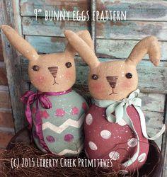 Bunny Eggs Primitive Easter Rabbit Epattern by liberty creek primitives. Pdf sewing pattern.