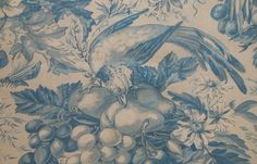 Antique Vtg. French Bird Fruit Floral Cotton Toile Fabric
