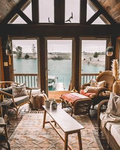 Lake House Porch Reveal + Decor Ideas | Karina Style Diaries House With Porch, Up House, River House, Dock House, Lake House Plans, Dream House Plans, House Near Lake, Lakeside Living, Lake Cabins