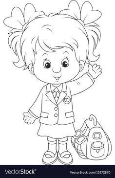 Schoolgirl vector image on VectorStock Coloring Pages To Print, Coloring Book Pages, Library Drawing, Nursery Rhyme Crafts, Kids Library, Drawing Clipart, Kawaii Drawings, Free Vector Art, Colorful Pictures