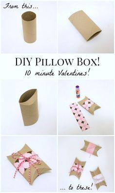 DIY Gift Wrapping Ideas DIY Valentines Pillow Boxes: Turn an empty toilet paper tube into a Valentine pillow box in under ten minutes! Paper Roll Crafts, Fun Crafts, Diy And Crafts, Crafts For Kids, Paper Crafting, Valentines Bricolage, Valentines Diy, Valentine Pillow, Diy Valentine's Pillows