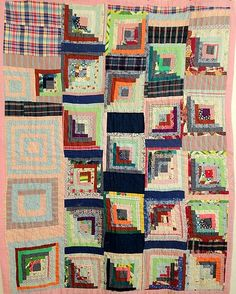 Vintage Early 1970s Quirky Log Cabin Quilt Optical Abstract Design | eBay