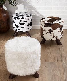-Animal Print Fabric-Covered Ottomans Dress up your space with this Animal Print Fabric-Covered Ottoman. It adds a decorative touch to any room in your home. x Wood, flannelette and sponge.A fun touch for your home dia. x flannelette and spon See it Animal Print Bedroom, Animal Print Decor, Animal Print Furniture, Animal Prints, Cow Print Chair, Westerns, Wood Chair Design, Cow Decor, Fabric Ottoman
