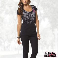 Metal Mulisha Women's Purpose V-Neck Short Sleeve Shirt