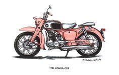 Pink 1961 Honda C92 Motorbike $3