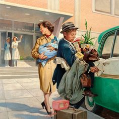 Painting by Harry Anderson.  Back when the hospital staff knew you personally, although in the Baby Boom days the nurses would probably have been waving goodbye to 4-5 couples at a time . . .