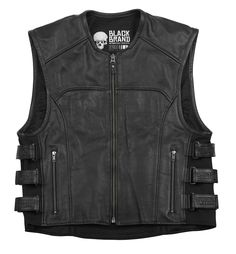 Black Brand Ice Pick Perforated Leather Motorcycle Vest