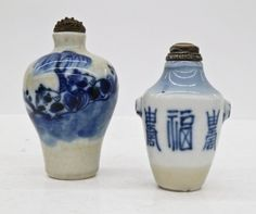 2pc Antique Chinese Snuff Bottles Blue & White : Lot 114