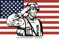 American Military serviceman and flag - stock vector #memorialday #retro #illustration