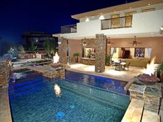 patio pool and fire pit.