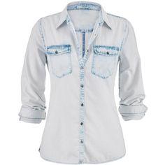maurices Bleach Wash Denim Boyfriend Shirt ($32) ❤ liked on Polyvore featuring tops, light denim, bleached denim shirt, roll sleeve shirt, women's plus size tops, bleached shirts and plus size womens button down shirts