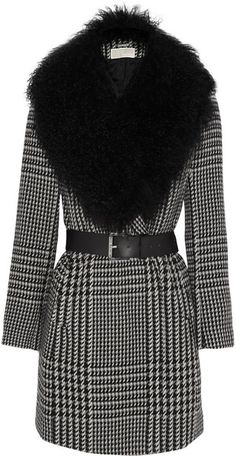 Michael Kors Shearling collar Houndstooth Coat