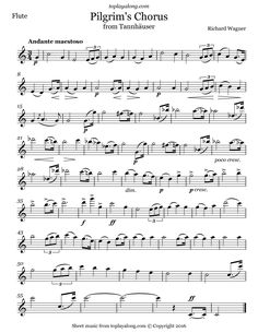 Pilgrim's Chorus from Tannhäuser by Wagner. Free sheet music for flute. Visit toplayalong.com and get access to hundreds of scores for flute with backing tracks to playalong.