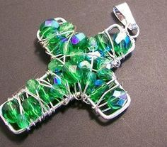 Christmas Cross Pendant Green Faceted Glass Bead Wire wrapped Cross Pendant. $10.00, via Etsy.
