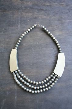 Horn and Silver Bead Bib Necklace