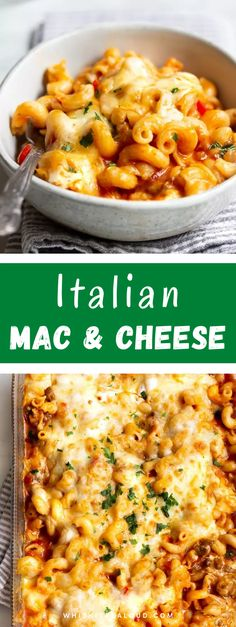 Marinara sauce, sausage and oozing cheese are just some of the ingredients. Perfect for busy weeknights! This Italian Mac and Cheese is incredibly delicious. #macncheese #macandcheese #easydinner #dinner #italianrecipe @whiskitrealgud | whiskitrealgud.com