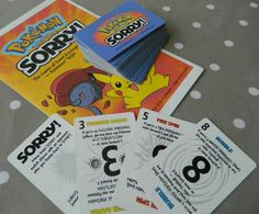 Pokemon Sorry Game Cards, Parker Brothers, Game Pieces, Crafts, Upcycling