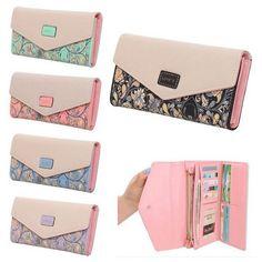 Sale 29% (10.88$) - Women PU Leather Envelope Long Wallet Button Clutch Bag Card Holder