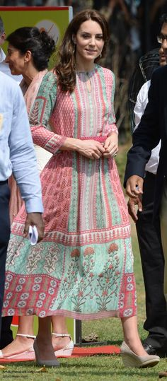 hrhduchesskate: Royal Tour 2016-Mumbai, India, April 10, 2016-The Duchess of Cambridge for her afternoon engagements, wore a bespoke Mughal inspired tunic by Mumbai-based designer Anita Dongre, now called the 'Gulrukh Tunic Dress', accessorized with a new pair of 'Fleur' wedges by monsoon, and £8 Accessorize 'Filigree Bead Short Drop Earrings'