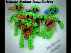 TEENAGE MUTANT NINJA TURTLES on the Rainbow Loom. Designed and loomed by Kate Schultz of Izzalicious Designs. Click on photo for YouTube tutorial.