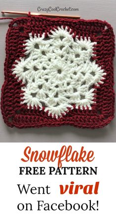Snowflake FREE PATTERN I used for a crochet Christmas pillow. Facebook went mini-viral for this! Fast crochet. Makes great crochet Christmas gifts! Unique teacher gift! #crazycoolcrochet #crochetChristmas #freecrochetpattern #freecrochetpatterns #crochetfreepattern #crochetfreepatterns #crochetpillow #fastcrochet #fastcrochetpattern #crochetteachergift #teachergift #christmasgift