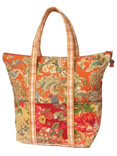 Travel in style! Quilted and embellished with trademark embroidery, the Indian Summer Patchwork Tote is the perfect cheerful blend of our finest prints and plaid.