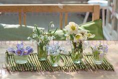 Crocus, Galanthus nivalis, Puschkinia, Helleborus niger, Primula, Cornus stolonifera 'Flaviramea' - krokus, przebiśniegi, puszkinia cebulicowata, pierwiosnki - bukieciki w kieliszkach z wiosennymi kwiatami na macie zrobionej z gałązek