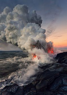 Kilauea on the Big Island meets the sea. Hawaiian chants and oral traditions tell in veiled form of many eruptions fomented by an angry Pele. Since 1952 there have been 34 eruptions, and since January 1983 eruptive activity has been continuous along the east rift zone. New real estate created daily!
