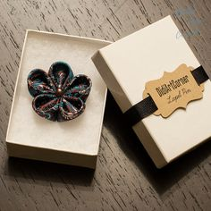 Turquoise and Brown Kanzashi Flower Lapel Pin by DidiArtCorner