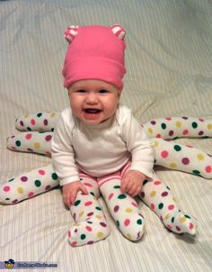 DIY Octopus Halloween costume idea for baby: just add 3 extra pairs of stuffed tights.